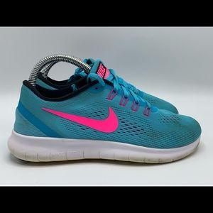 Nike Free RN Pink Turqouise Size 6 Women